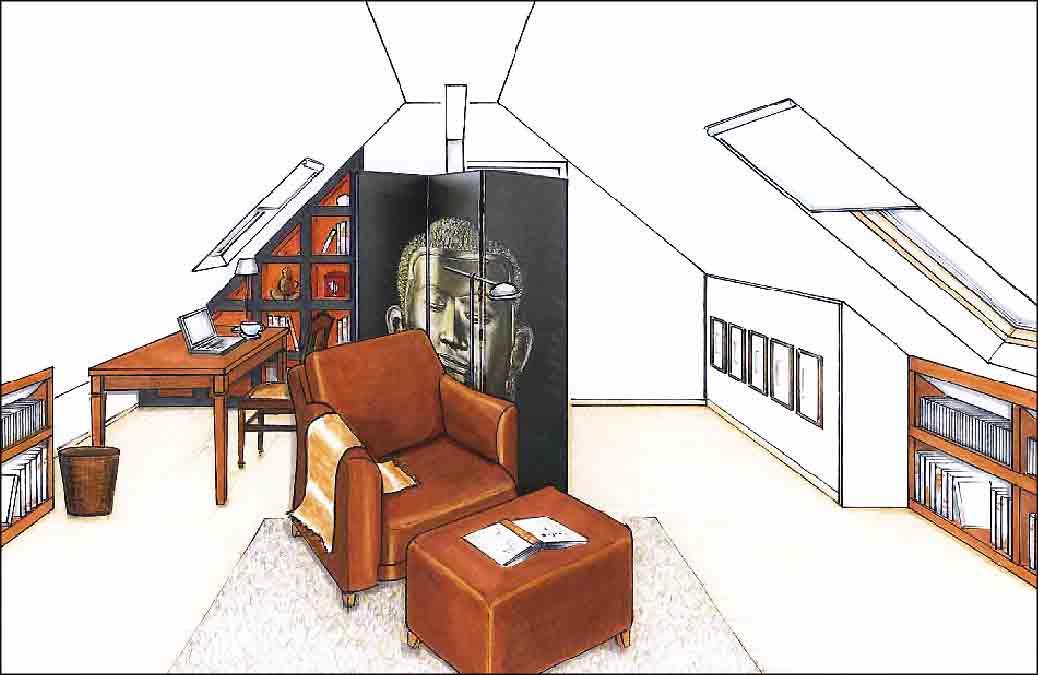 Arbeitszimmer-Innenarchitekt-Planung
