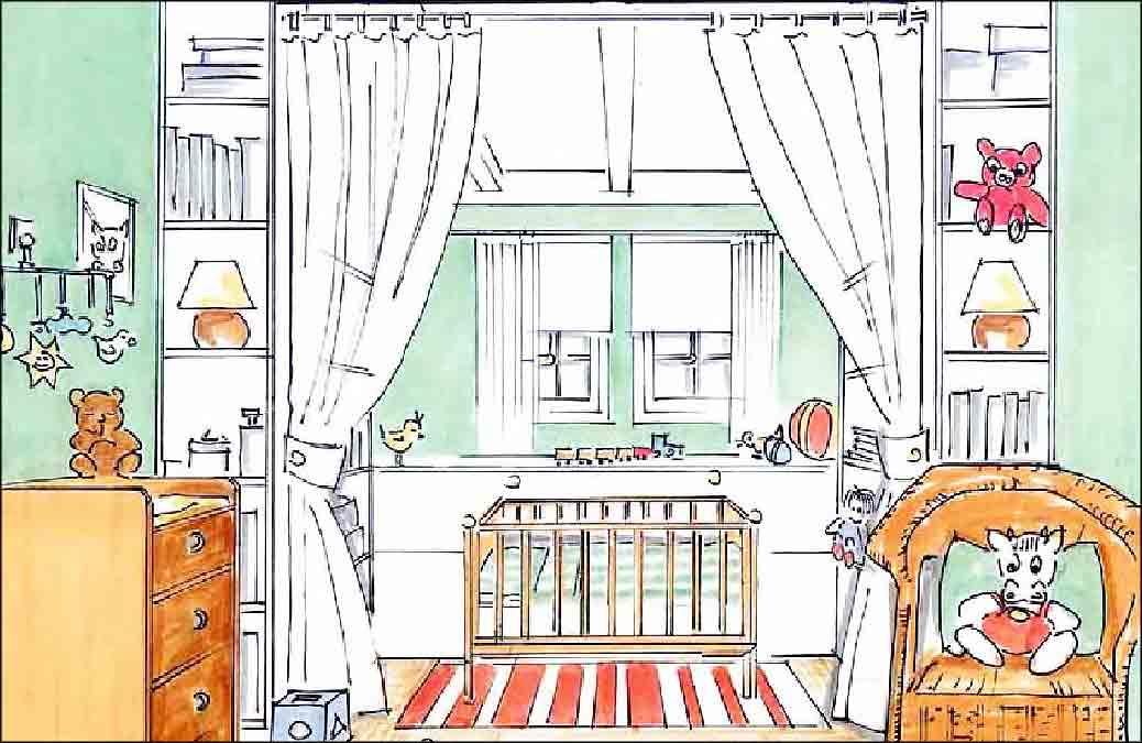 Baby-Kinderzimmer-Entwurf-Innenarchitekt