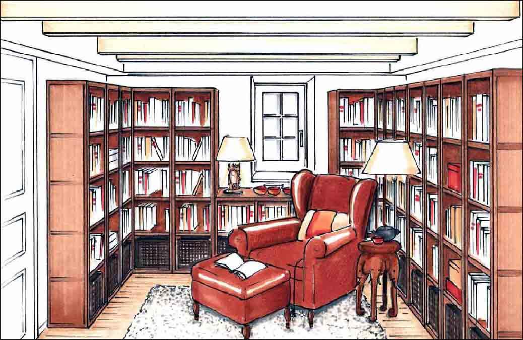 Bibliothek-Projekte-Innenarchitekt