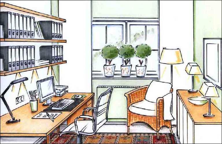 Buero-Arbeitsplatz-Wohnung