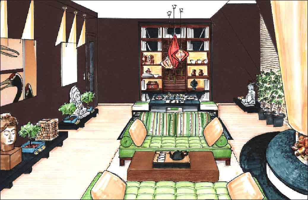 Entwurf-Innenarchitekt-Asia-Wohnzimmer