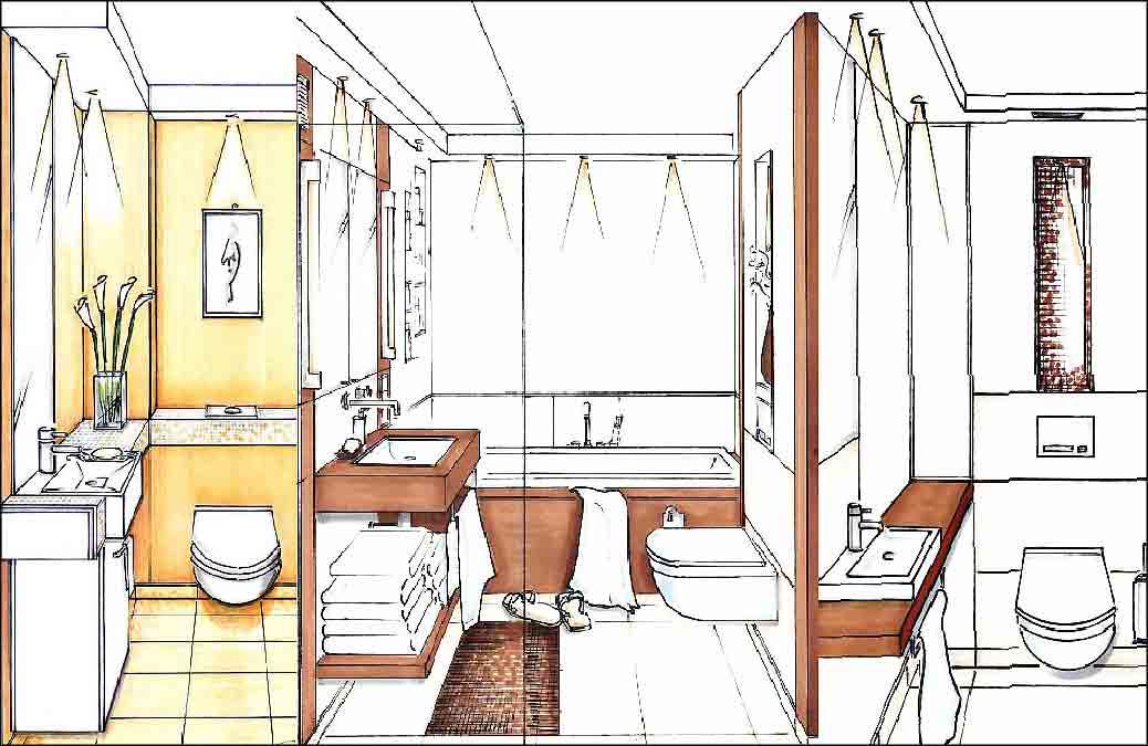 Innenarchitekt-Badezimmer-Planung