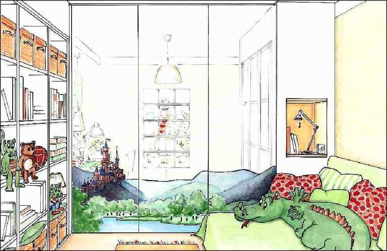 Kinderzimmer-Dekoration-Innenarchitekt