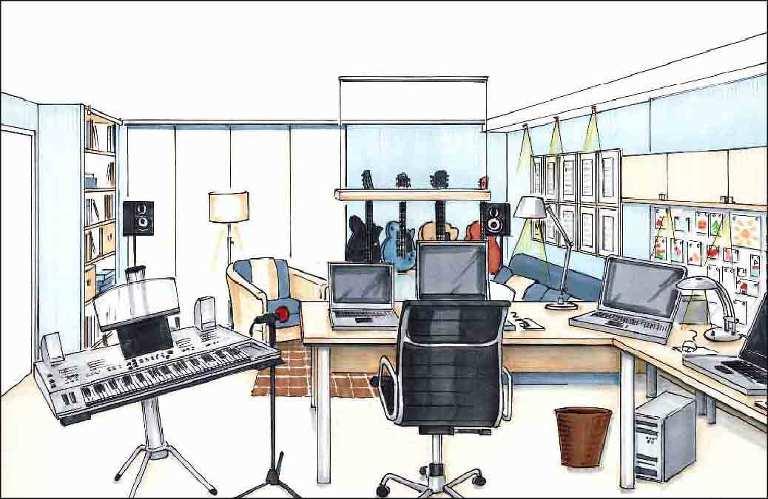 Planung-Arbeitszimmer-Innenarchitekt