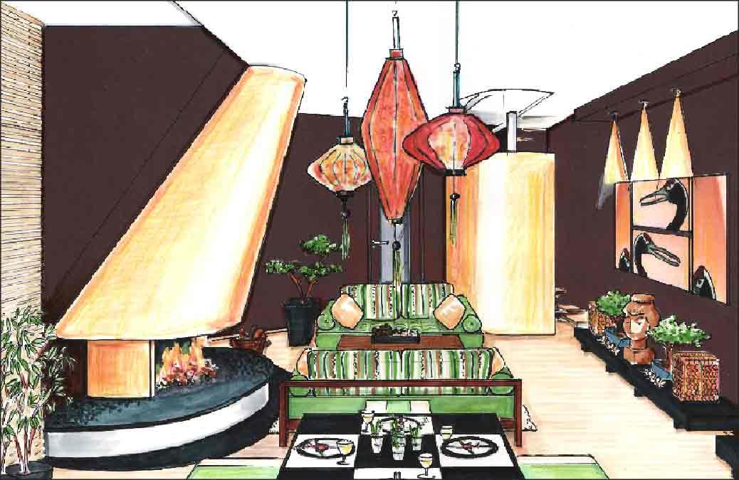 Planung-Innenarchitektur-Wohnzimmer-asiatisch